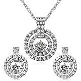Déstockage-MARENJA Cristal-Parure Bijoux-Collier et Boucles d'Oreilles Femme-Anneax Double-Cristal Transparent