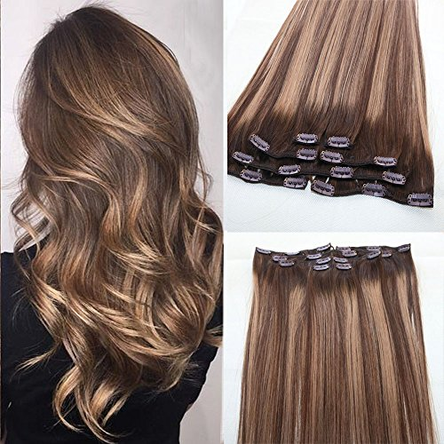 BeautMiss-100-Remy-Human-Hair-Clip-in-Extensions-OmbreDip-Dye-Off-Chocolate-Brown-and-Honey-Blonde-Full-Head-7pcsSet-120g-Balayage-Highlights-Hair-Extensions-