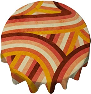 yyone Tablecloth Round 50 Inch Fashion Circle Table Cover Vintage Orange 70'S Style Rainbow Stripes Table Cloth Decor for Buffet Table, Parties, Holiday Dinner, Wedding