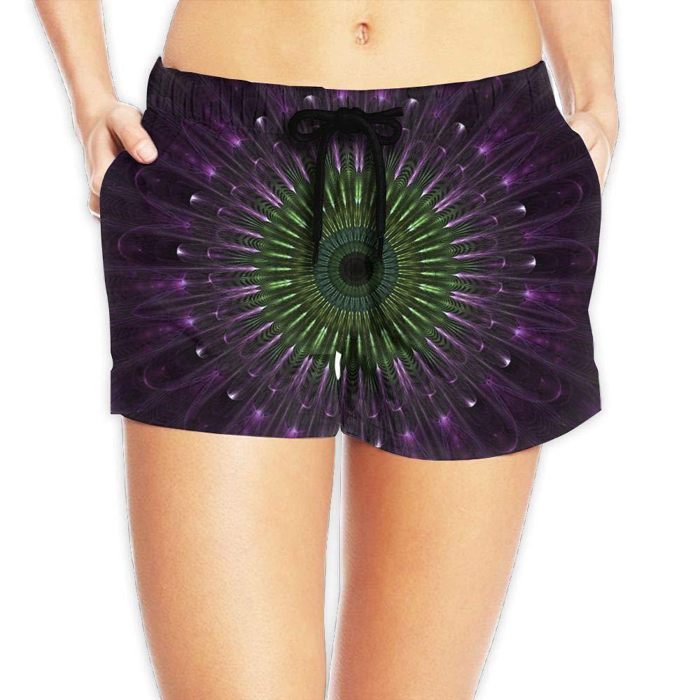 Women's Purple Mandala Fractal Glass Digital Art Quick Dry Waistband Pockets Beach Short Summer Bathing Suit XX-Large