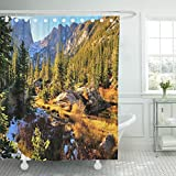 Emvency Shower Curtain Colorful Forest in Rocky Mountain National Park Fall Snow Waterproof Polyester Fabric 72 x 78 inches Set with Hooks