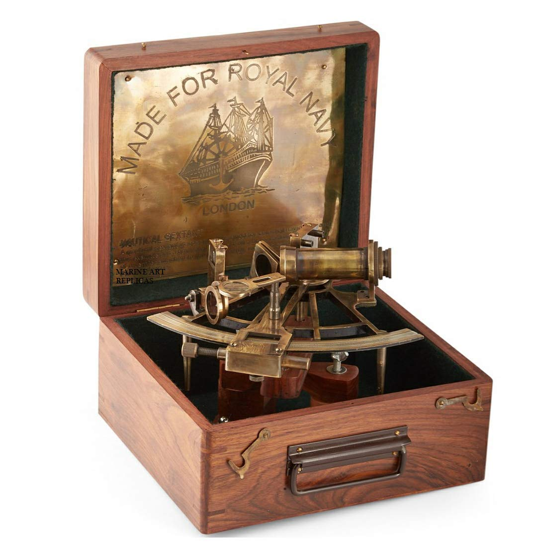 MAR 8'' Maritime Antiques Marine Captain Sextant with Wooden Box.