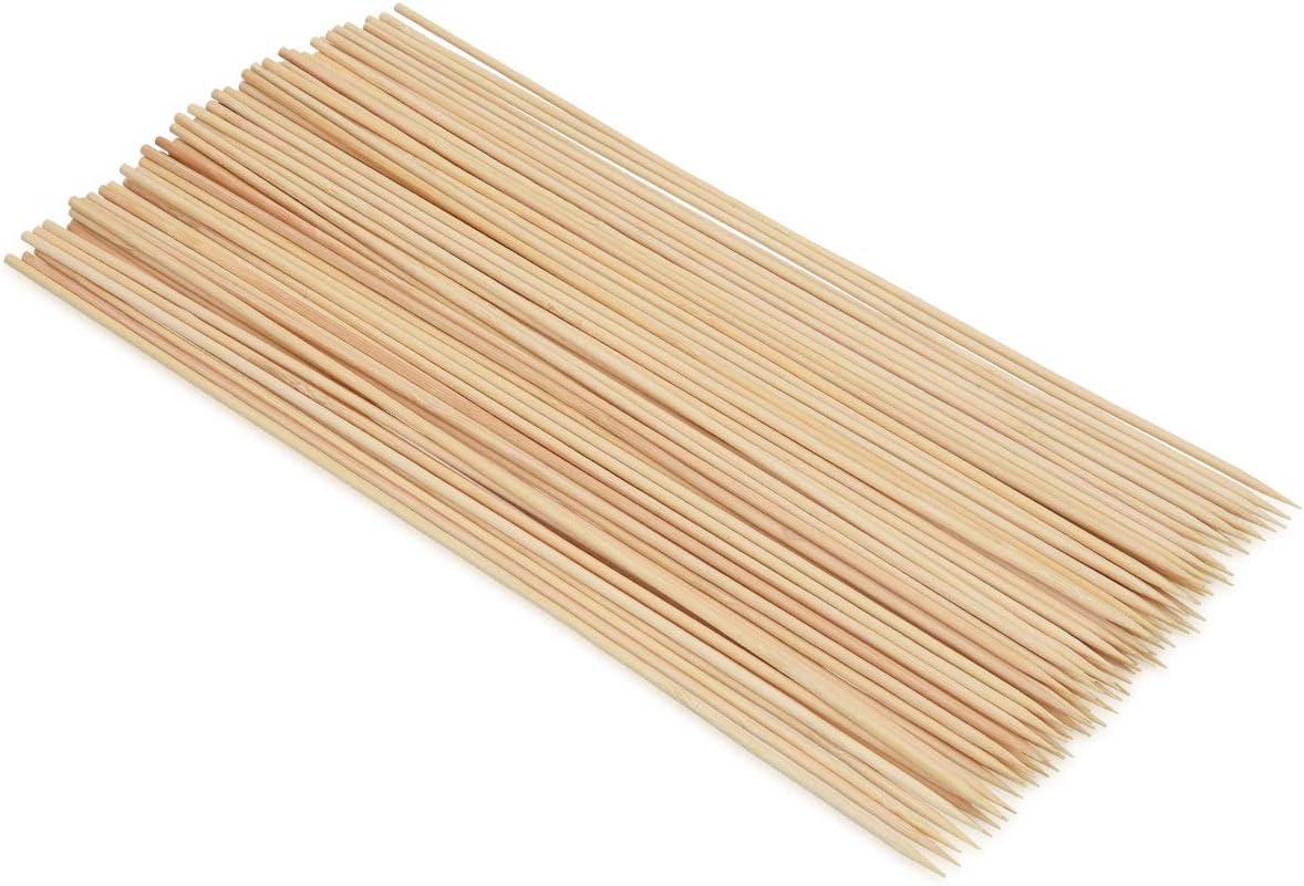 Navaris Set de 100 brochetas para Barbacoa - Pinchos de Madera de bambú para Asar - Juego de espetos de 30CM para Asar Carne sardinas Verduras