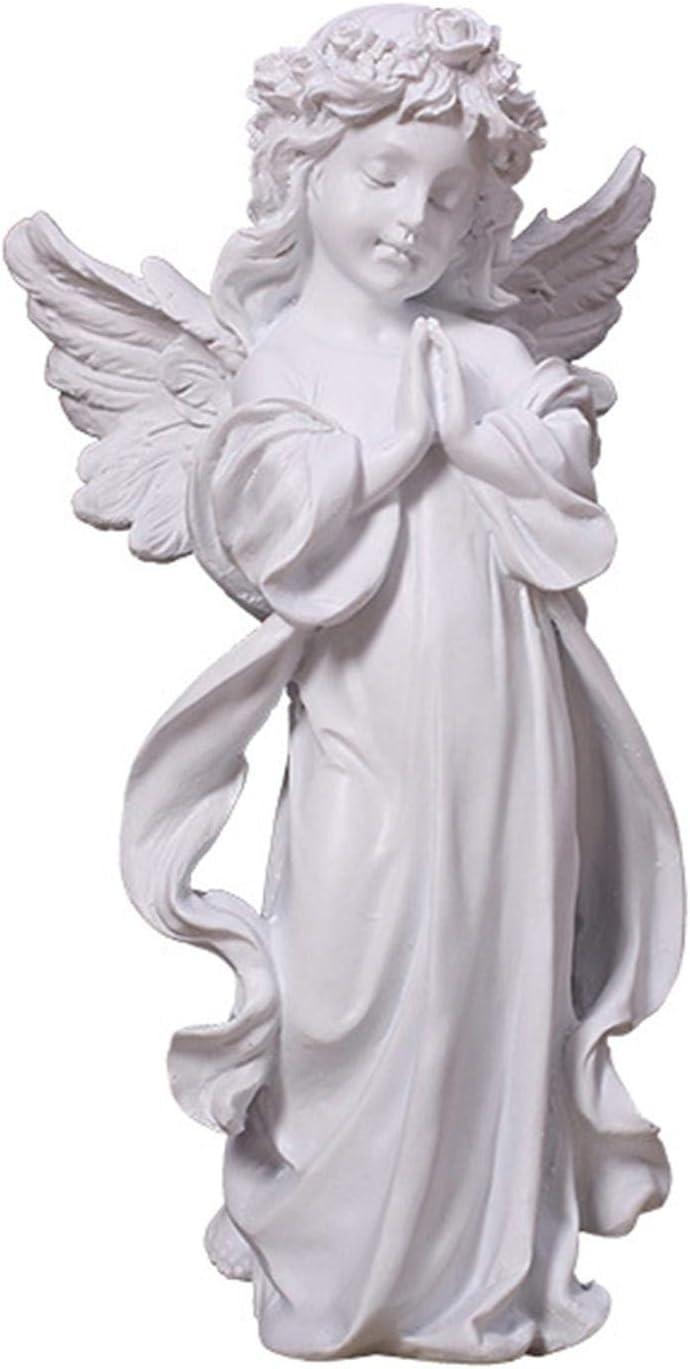 Doefo Angels Resin Garden Statue Figurine, Indoor Outdoor Home Garden Decoration Wings Angel Statue Sculpture Memorial Statue, 15.5x32cm