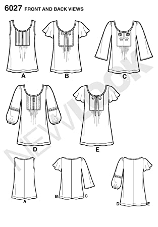 Amazon.com: New Look sewing pattern 6027: Misses\' Tunic or Tops size ...