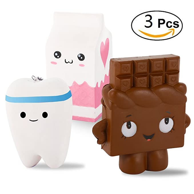 3 Pack Kawaii Jumbo Slow Rising Squishies, Scented Squishy Chocolate Bar, Tooth, Milk Carton Toys For Kids or Stress Relief by FidgetKit