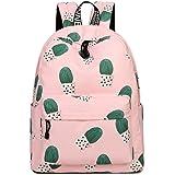 Inwagui Polyester Sac à dos Loisirs Sac d'école Backpack Lycée Collège Cartable pour Femme Fille Enfant Ado - Cactus