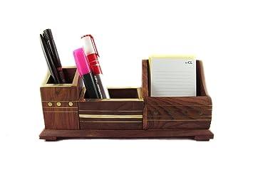 3 compartimento Affaires bolígrafo/lápiz de madera soporte de ...