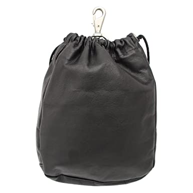 Amazon.com | Piel Leather Large Drawstring Pouch, Black, One Size ...