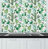 Ambesonne Green Decor Kitchen Curtains, Mexican Texas Cactus Plants Spikes Cartoon Like Art Print, Window Drapes 2 Panels Set for Kitchen Cafe, 55 W X 39 L Inches, White Light Pink and Lime Green