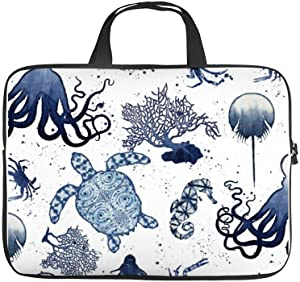 "Neoprene Sleeve Laptop Handbag Case Cover Beach Blue Coral Modern Watercolor Sea Turtle Art 10 Inch Laptop Sleeve Case for 9.7"" 10.5"" Ipad Pro Air/ 10"" Microsoft Surface Go/ 10.5"" Samsung Galaxy Tab"