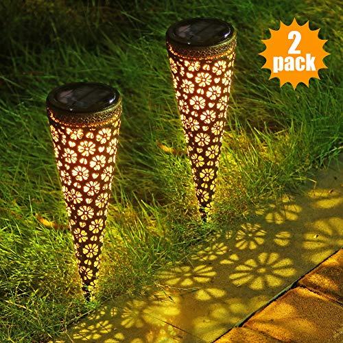 Litake Solar Pathway Lights Garden Outdoor, LED Light Sensor Decorative Metal Solar Ground Garden Lights, IP65 Waterproof Garden Stakes for Walkway Yard Lawn Patio, 2 Packs ()
