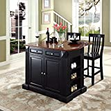 Kitchen Island with Bar Seating Crosley Furniture Drop Leaf Breakfast Bar Top Kitchen Island in Black Finish with 24-Inch Black School House Stools