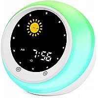 Sun & Moon Rise Kids Alarm Clock, Children's Sleep Trainer ,Sleep Sound Machine, Wake Up Light & Night Light ,Teach Kids…