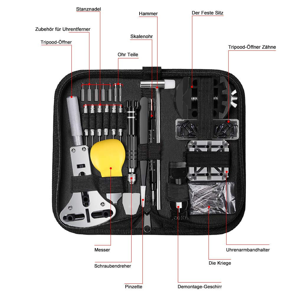 Ueznirn - Juego de herramientas para relojero (153 piezas, tamaño profesional, abridor de cajas, destornillador, pulsera, cambio de batería, reloj, ...