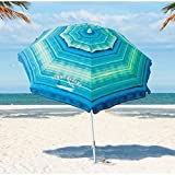 #9: Tommy Bahama Sand Anchor 7 feet Beach Umbrella with Tilt and Telescoping Pole (Green/Blue Stripe)