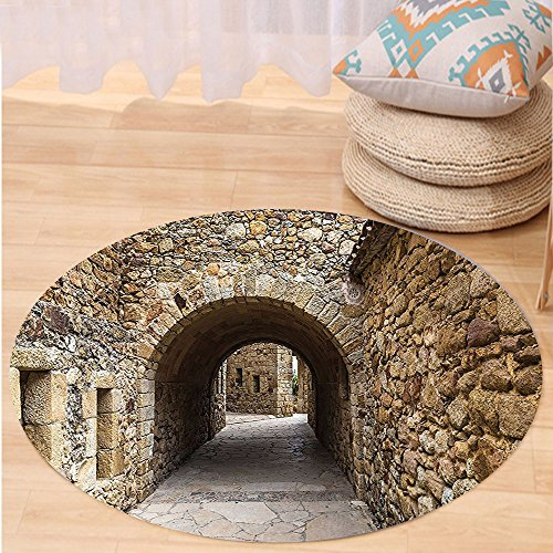 VROSELV Custom carpetApartment Decor Collection Medieval Ancient Historic Street With Stone s in Pals Girona Catalonia Spain Picture Bedroom Living Room Dorm Beige Round 72 inches by VROSELV