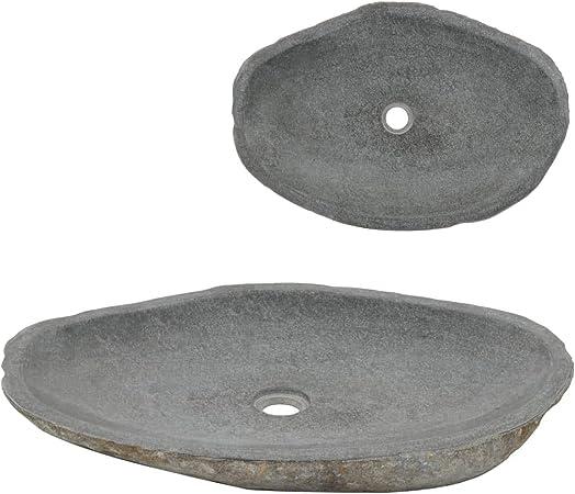 vidaXL Lavabo en Granit gris Lave-mains Toilette Vasque de Salle de Bains