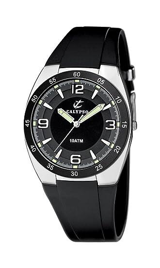 Calypso 6044/2 - Reloj de Caballero de Cuarzo, Correa de Goma Color Negro: Amazon.es: Relojes