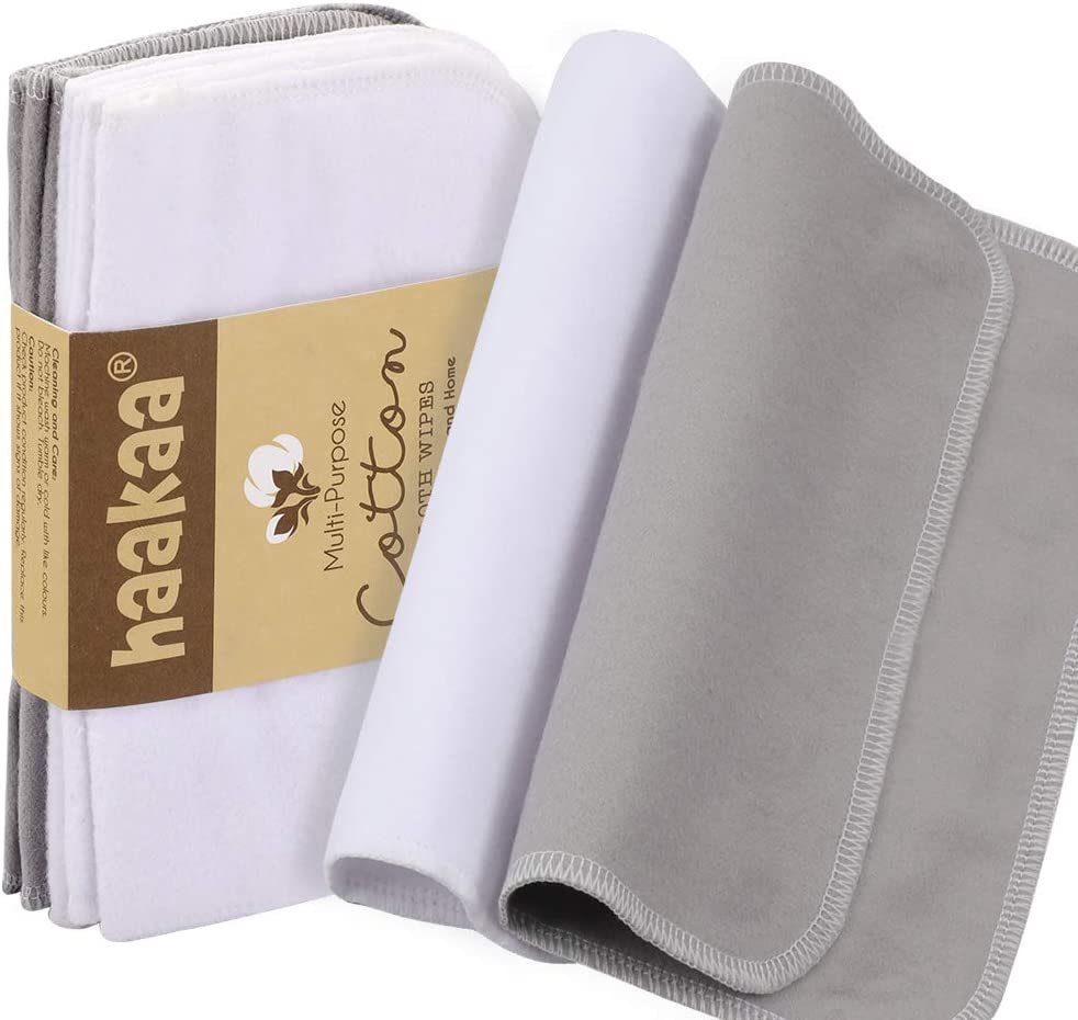 Haakaa Cleaning Cloth Cotton Soft Absorbent Reusable Multi-Functional Washcloths for Home Kitchen Car Window Glasses, Size:6