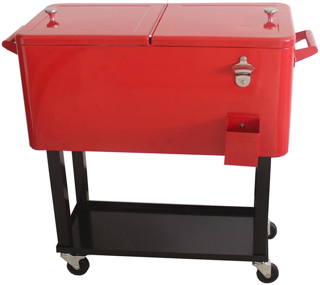 Amazon.com : HIO 80 Qt Outdoor Patio Cooler Table On Wheels, Rolling Cooler  With Shelf, Red : Garden U0026 Outdoor