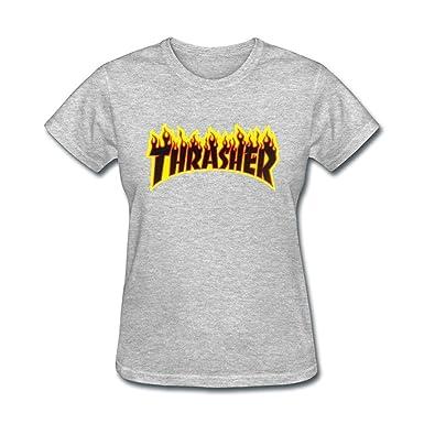 9611f44acfe Femme s Thrasher Flame Logo Sticker T shirt Medium  Amazon.fr  Livres