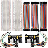 LGDehome 2pcs 830 Points Solderless Plug-in Experiment Breadboard + 2 Power Supply Module 3.3V/5V + 2pack 65 pcs jumper wires +120pcs 20cm Jumper Wires Ribbon Cables
