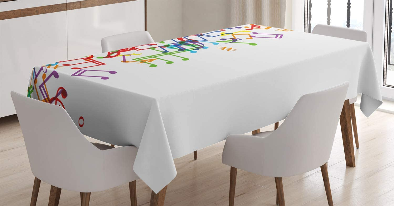 Ambesonne Colorful Tablecloth, Trippy Art Style Music Notes with Clef Rhythm Tempo Melody Harmony Print, Dining Room Kitchen Rectangular Table Cover, 60