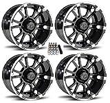 Fairway Alloys 14'' Sixer Gloss Black Golf Cart Wheels/Rims EZ-GO/Club Car (4)