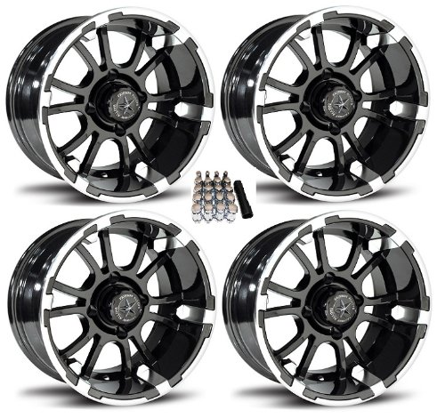 Fairway Alloys 14'' Sixer Gloss Black Golf Cart Wheels/Rims EZ-GO/Club Car (4) by Powersports Bundle