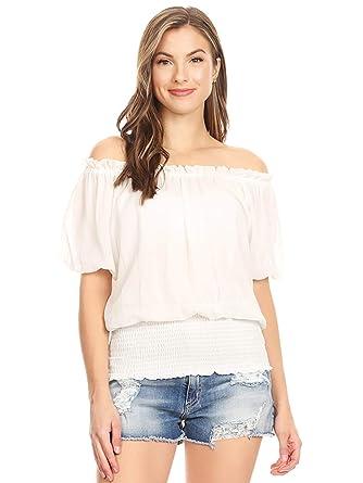 d106878a746 Anna-Kaci Womens Short Sleeve Ruffle Off Shoulder Smocked Waist Boho Blouse  Tops,White