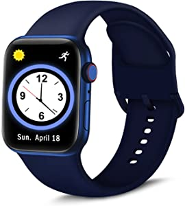 Brigtlaiff Compatible with Apple Watch Bands 38mm 40mm 42mm 44mm, Soft Silicone Sport Replacement Women Men Strap with Unique Colors Clasp for iWatch Series 6 5 4 3 2 1 SE - 38mm 40mm, Midnight Blue