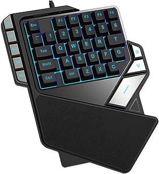 Sola Mano Wired Keyboard Teclado 7 Colores RGB De Luz De ...