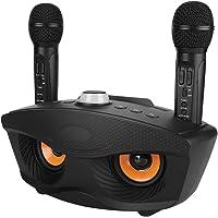 Denash Singing Machine Home KTV Karaoke Equipment Altavoz Bluetooth con Dos micropones(Negro)