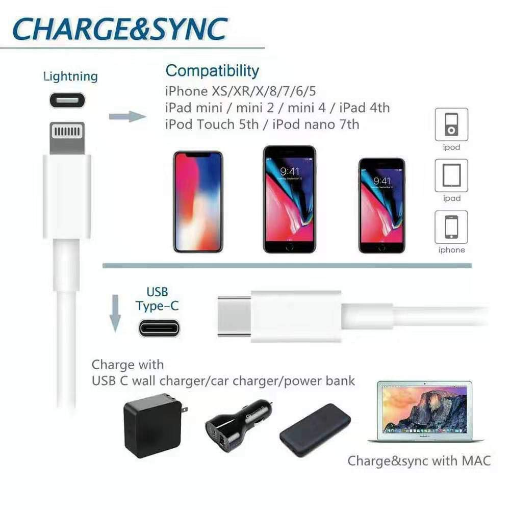 Gin FOXI USB C to Lightning Cable [2 Pack 3.3ft MFi Certified] Fast Charging (with Type C PD Ac Adapter) Compatible with iPhone 8/8 Plus/X/XS/XR/XS Max