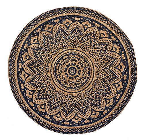 HF by LT Isabella Printed Round Jute Rug, 5', Durable, Sustainable, Hand Woven and Machine Stitched, Midnight (Blue Round Baker)