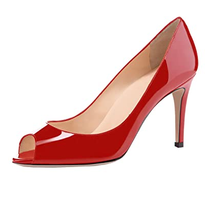 Eldof Women Peep Toe Pumps Mid-Heel Pumps Formal Wedding Bridal Classic Heel Open Toe Stiletto Red US 10.5 | Pumps