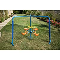 Ironkids Blue/Orange Weather Resistant, Durable Steel and Plastic Four Station Fun-filled Merry-go-round