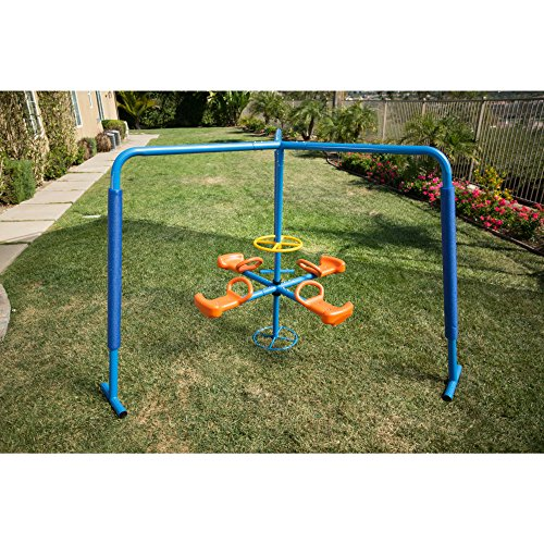 - Ironkids Blue/Orange Weather Resistant, Durable Steel and Plastic Four Station Fun-filled Merry-go-round