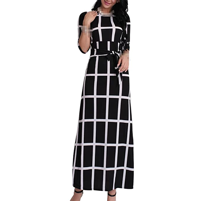 38f8f9006a34 JINGLIYA Rosso Giallo Nero Blu Caduta Plaid Sottile Semplice Temperamento  Abiti Lunghi: Amazon.it: Abbigliamento