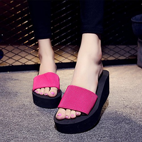 Mujeres Señoras Sandalias Zapatos antideslizantes de la playa del ocio de los deslizadores de la parte inferior plana del verano de los 7cm para las mujeres (18-40 años) Cómodo ( Color : Negro , Tamañ Pink