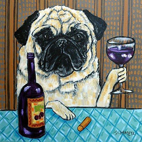Coaster Pug (Pug at the Wine Bar Dog art tile coaster gift)