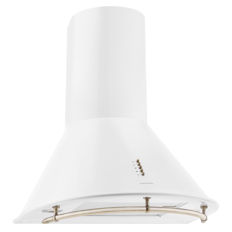 Klarstein Lumio Primo Cappa Aspirante da cucina in acciaio inox (60 cm, potenza di aspirazione pari a 430 m³/h, 3 livelli di potenza, illuminazione con due faretti alogeni) - bianco [Classe di efficienza energetica D]