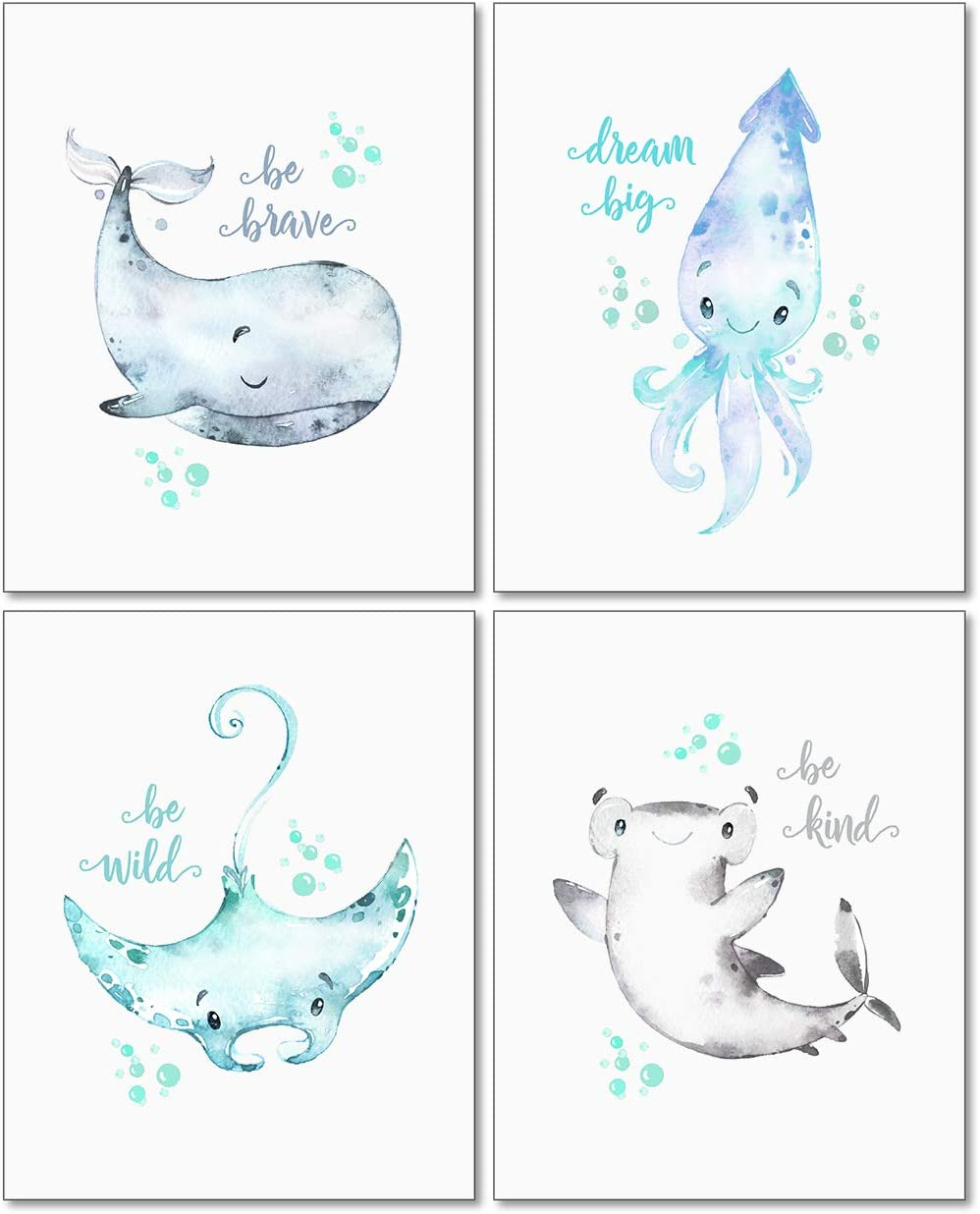 Confetti Fox Sea Nursery Pictures Wall Art Decor - 8x10 Unframed Set of 4 Prints - Kids Ocean Life Baby Animals - Whale Octopus Stingray Shark