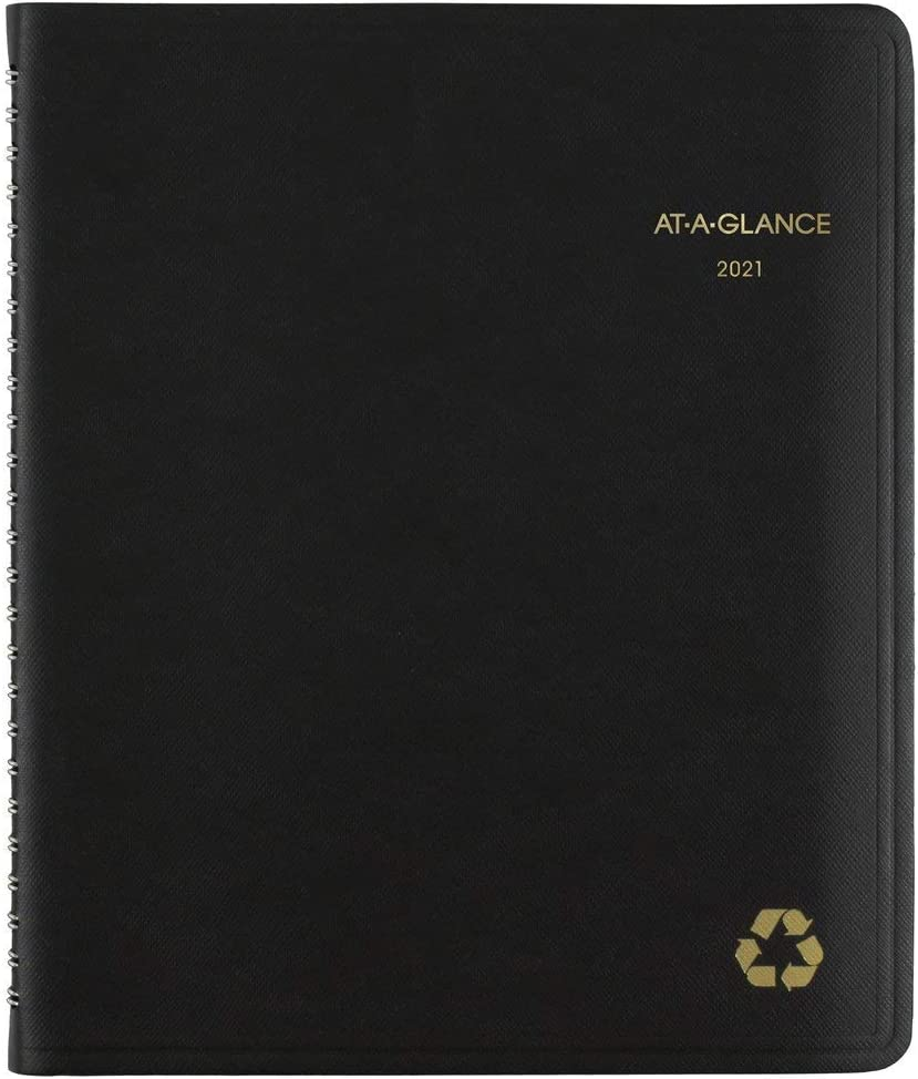 "2021 Weekly & Monthly Appointment Book & Planner by AT-A-GLANCE, 7"" x 8-3/4"", Medium, Recycled, Black (70951G0521)"