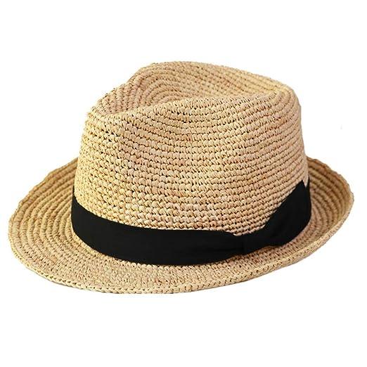 BJYG Sombrero de Paja para Hombre Sombrero de Fedora de Verano ...