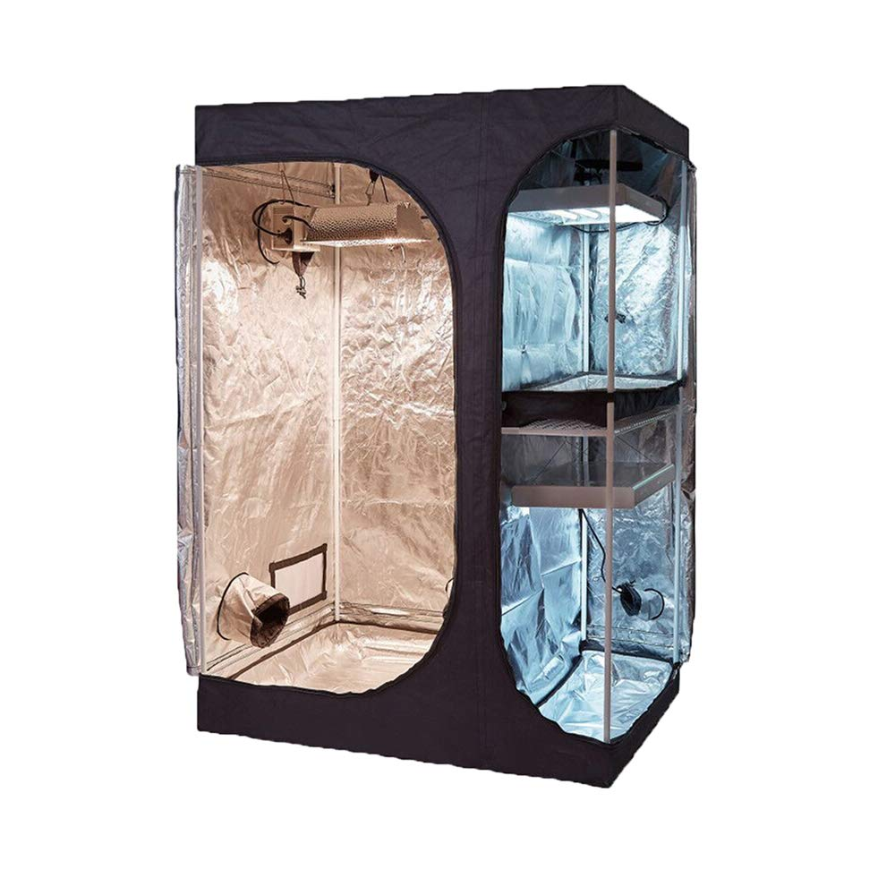 TopoGrow 2-in-1 Indoor Grow Tent 36″X24″X53″ 600D High-Reflective W/2-Tiered for Lodge Propagation and Flower Plant Growing