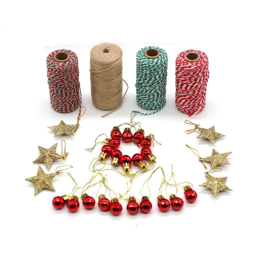 20 Perline Rosse da Appendere 6 Stelle Glitterate per Confezioni Regalo di Natale JUNICON 4 Rotoli di spago Decorativo per Natale da 1,37 m per Regali di Nozze Corda di Cotone