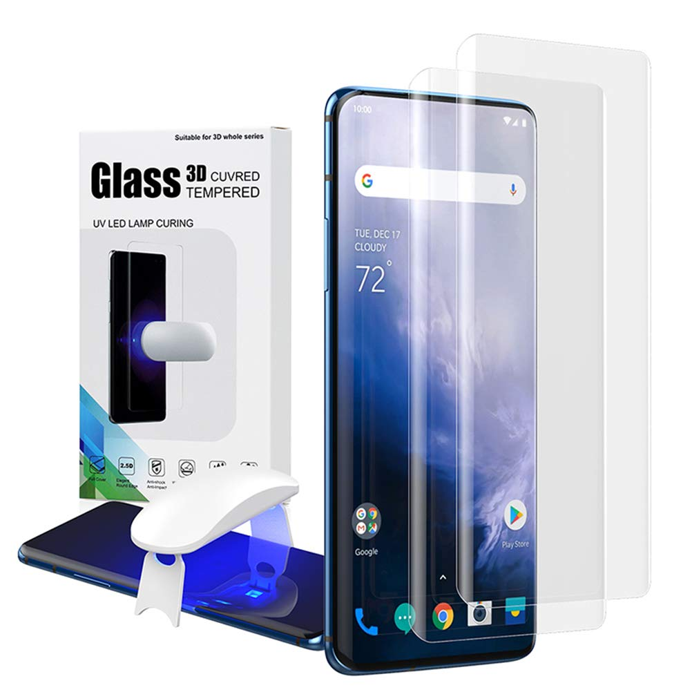 Oneplus 7 Pro Tempered Glass Screen Protector,Fingerprint Scaner 3D Liquid Transparent Clear Full Curved Edge Case Friendly Anti-Scratch Coverage for Oneplus 7 Pro 2019-2 Pack