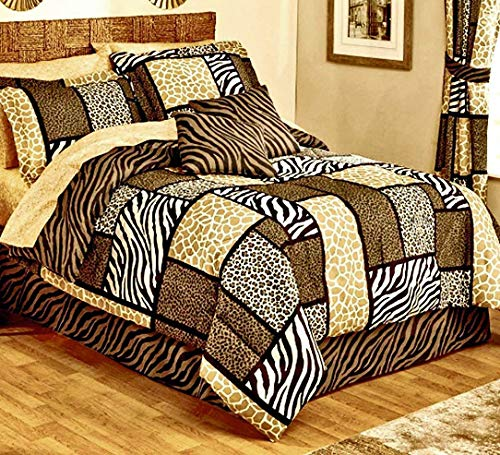 Safari Zanzibar Zebra Stripe Giraffe Leopard Animal Print Patchwork Black Brown Tan Comforter Set Ensemble + Two TOSS Pillows! (10pc Full Size)